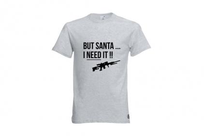 Daft Donkey Christmas T-Shirt 'Santa I NEED It Sniper' (Light Grey) - Size Large