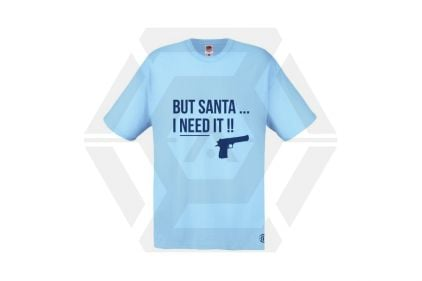 Daft Donkey Christmas T-Shirt 'Santa I NEED It Pistol' (Blue) - Size Small