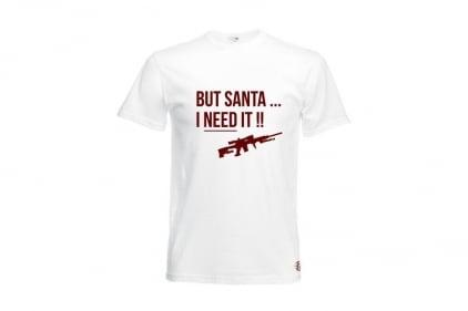 Daft Donkey Christmas T-Shirt 'Santa I NEED It Sniper' (White) - Size Small
