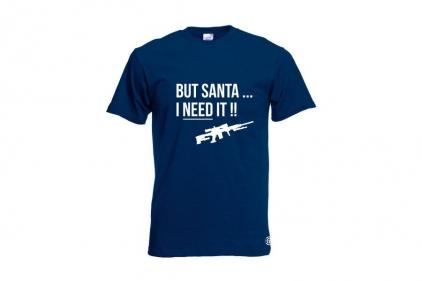 Daft Donkey Christmas T-Shirt 'Santa I NEED It Sniper' (Navy) - Size Medium