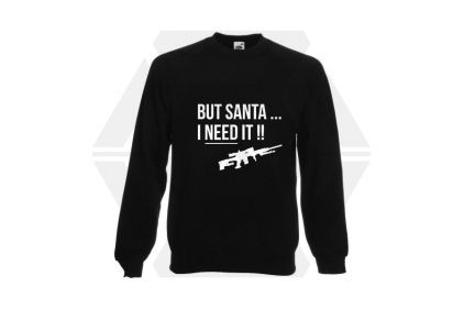 Daft Donkey Christmas Jumper 'Santa I NEED It Sniper' (Black) - Size Small