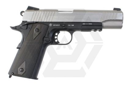 Cybergun GBB CO2 Colt 1911 Rail Gun (Black/Silver)