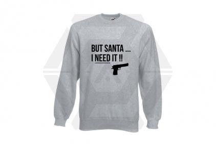 Daft Donkey Christmas Jumper 'Santa I NEED It Pistol' (Light Grey) - Size Medium