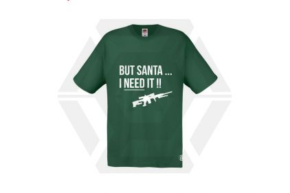 Daft Donkey Christmas T-Shirt 'Santa I NEED It Sniper' (Green) - Size Extra Large