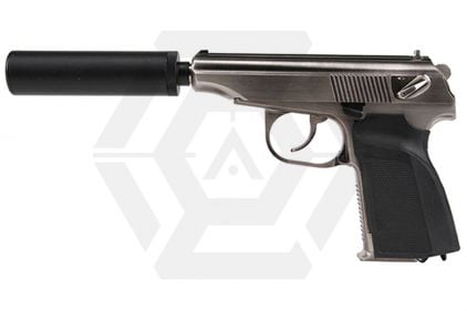 WE GBB Makarov 654K with Silencer (Silver)