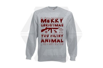 Daft Donkey Christmas Jumper 'Merry Christmas You Filthy Animal' (Light Grey) - Size Large