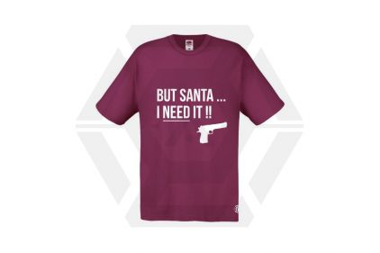 Daft Donkey Christmas T-Shirt 'Santa I NEED It Pistol' (Burgundy) - Size Extra Large - £9.95
