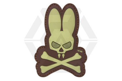 "101 Inc PVC Velcro Patch ""Skull Bunny"" (Brown)"