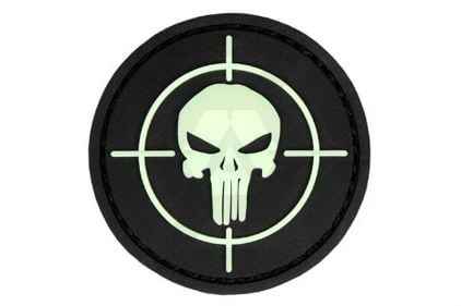 """101 Inc PVC Velcro Patch """"Punisher Sight"""" (Glow in the Dark) © Copyright Zero One Airsoft"""