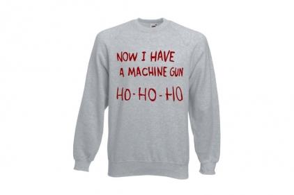 Daft Donkey Christmas Jumper 'Ho Ho Ho' (Light Grey) - Size Medium