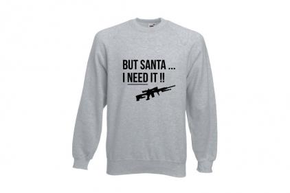Daft Donkey Christmas Jumper 'Santa I NEED It Sniper' (Light Grey) - Size Large - £16.95