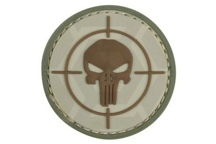 """101 Inc PVC Velcro Patch """"Punisher Sight"""" (Brown)"""