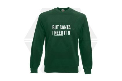 Daft Donkey Christmas Jumper 'Santa I NEED It' (Green) - Size Medium
