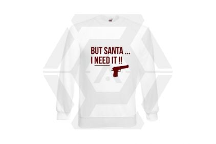 Daft Donkey Christmas Jumper 'Santa I NEED It Pistol' (White) - Size Medium