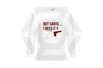 Daft Donkey Christmas Jumper 'Santa I NEED It Pistol' (White) - Size Medium