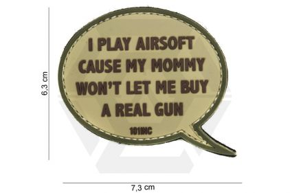 """101 Inc PVC Velcro Patch """"I Play Airsoft"""" (Brown)"""