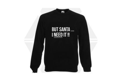 Daft Donkey Christmas Jumper 'Santa I NEED It' (Black) - Size Extra Extra Large
