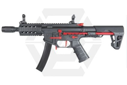 King Arms AEG PDW 9mm SBR Shorty (Black / Red) © Copyright Zero One Airsoft