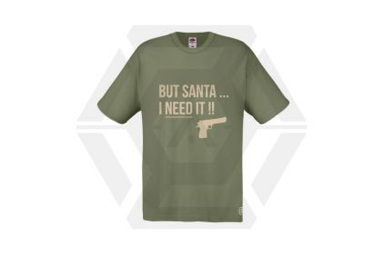 Daft Donkey Christmas T-Shirt 'Santa I NEED It Pistol' (Olive) - Size Small