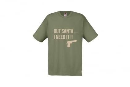 Daft Donkey Christmas T-Shirt 'Santa I NEED It Pistol' (Olive) - Size Small