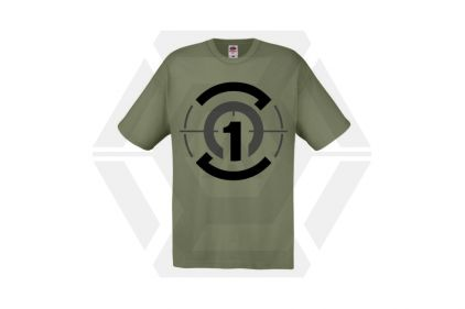 Daft Donkey T-Shirt 'Zero One Logo' (Olive) - Size Large © Copyright Zero One Airsoft