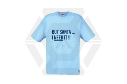 Daft Donkey Christmas T-Shirt 'Santa I NEED It' (Blue) - Size Large - £9.95