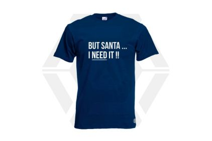 Daft Donkey Christmas T-Shirt 'Santa I NEED It' (Navy) - Size Medium