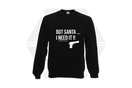 Daft Donkey Christmas Jumper 'Santa I NEED It Pistol' (Black) - Size Small