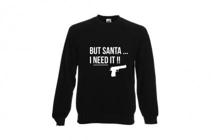Daft Donkey Christmas Jumper 'Santa I NEED It Pistol' (Black) - Size Small