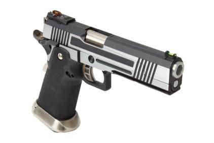 Armorer Works GBB GAS/CO2 DualFuel Hi-Capa HX10 with Split Slide & Reflex Sight (Silver/Black)