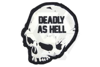 """101 Inc PVC Velcro Patch """"Deadly as Hell"""" (White)"""