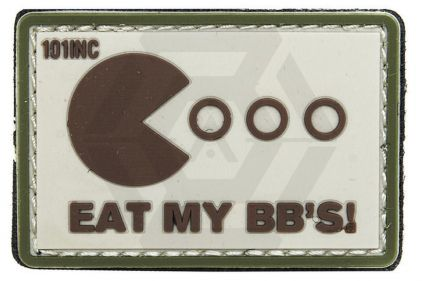 "101 Inc PVC Velcro Patch ""Eat My BB's"" (Brown) © Copyright Zero One Airsoft"