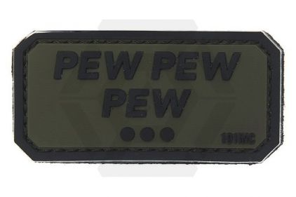 "101 Inc PVC Velcro Patch ""Pew Pew Pew"" (Olive) © Copyright Zero One Airsoft"