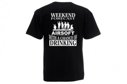 Daft Donkey T-Shirt 'Weekend Forecast' (Black) - Size Small - £9.95