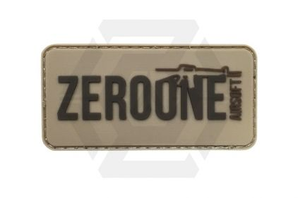 Zero One Airsoft PVC Velcro Patch 'Zero One Logo' (Tan)