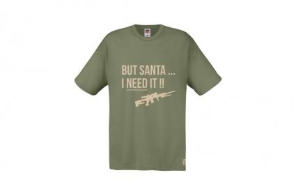 Daft Donkey Christmas T-Shirt 'Santa I NEED It Sniper' (Olive) - Size Medium