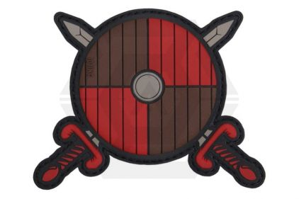 "101 Inc PVC Velcro Patch ""Viking Shield & Swords"" (Red)"