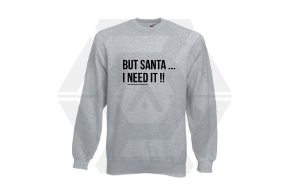 Daft Donkey Christmas Jumper 'Santa I NEED It' (Light Grey) - Size Small