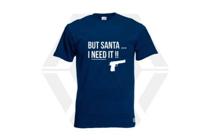 Daft Donkey Christmas T-Shirt 'Santa I NEED It Pistol' (Navy) - Size Medium