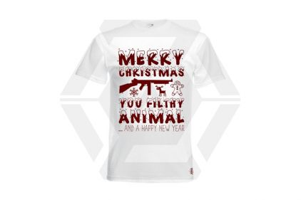 Daft Donkey Christmas T-Shirt 'Merry Christmas You Filthy Animal' (White) - Size Medium