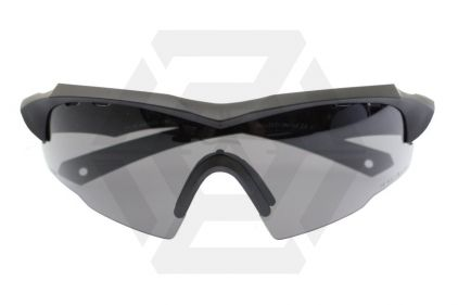 Blueye Tactical Glasses Jager with Black Frame & Low Profile Smoke/Clear Lenses