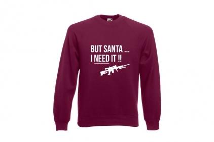 Daft Donkey Christmas Jumper 'Santa I NEED It Sniper' (Burgundy) - Size Medium