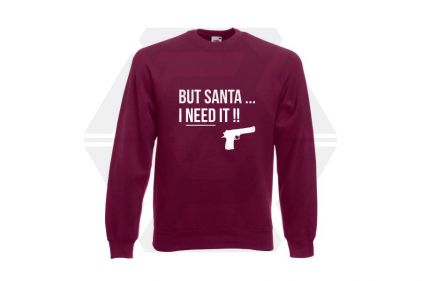 Daft Donkey Christmas Jumper 'Santa I NEED It Pistol' (Burgundy) - Size Medium