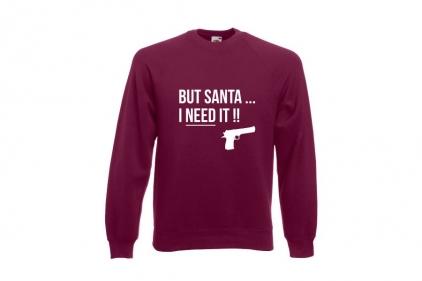 Daft Donkey Christmas Jumper 'Santa I NEED It Pistol' (Burgundy) - Size Medium