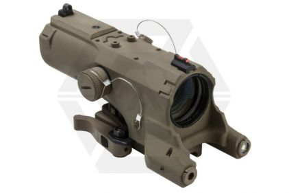 NCS 4x34 Blue Illuminating ECO Scope with Integrated Green Laser, Red/White Navigation Light & QR Mount (Tan)