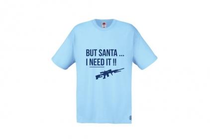 Daft Donkey Christmas T-Shirt 'Santa I NEED It Sniper' (Blue) - Size Extra Extra Large