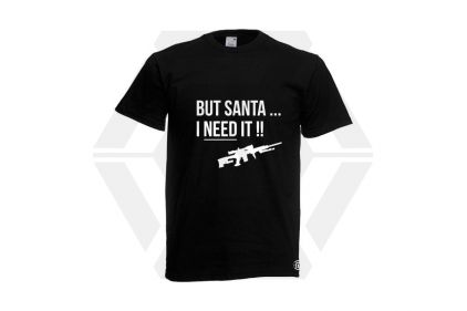 Daft Donkey Christmas T-Shirt 'Santa I NEED It Sniper' (Black) - Size Small