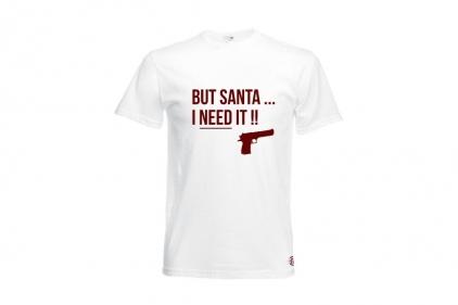 Daft Donkey Christmas T-Shirt 'Santa I NEED It Pistol' (White) - Size Large