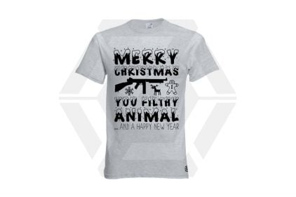 Daft Donkey Christmas T-Shirt 'Merry Christmas You Filthy Animal' (Light Grey) - Size Large - £19.95
