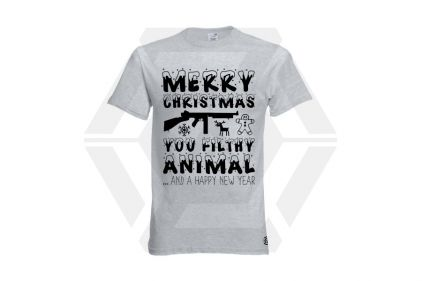 Daft Donkey Christmas T-Shirt 'Merry Christmas You Filthy Animal' (Light Grey) - Size Small - £19.95